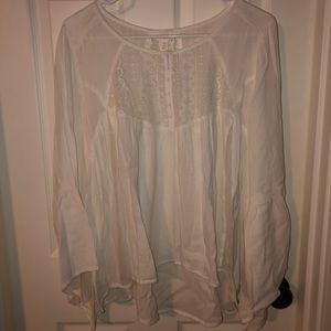 Nordstrom Patterned White Bell Sleeve Top!!